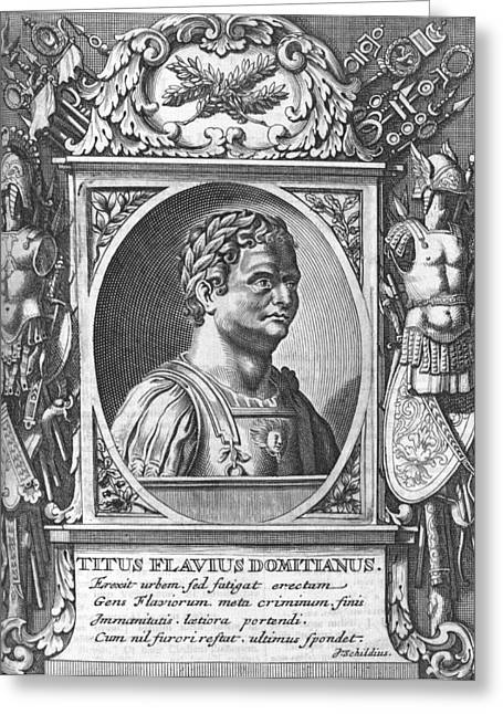 Domitian Greeting Cards - Domitian, Roman emperor Greeting Card by Science Photo Library