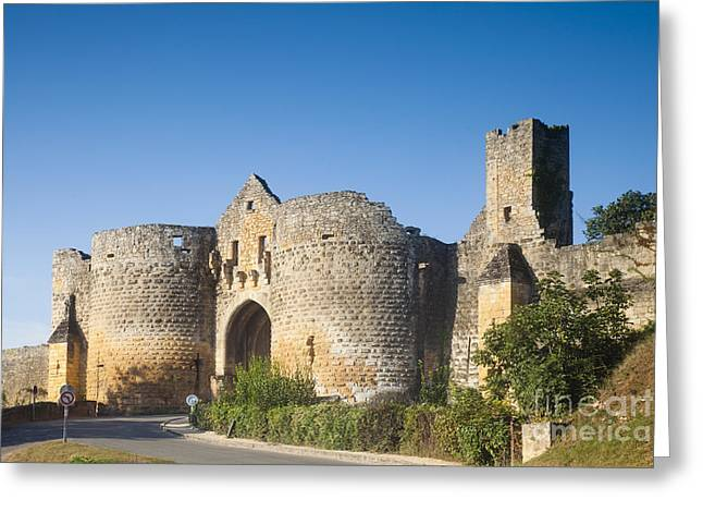Chateau Greeting Cards - Domme Main Gate Aquitane France Greeting Card by Colin and Linda McKie
