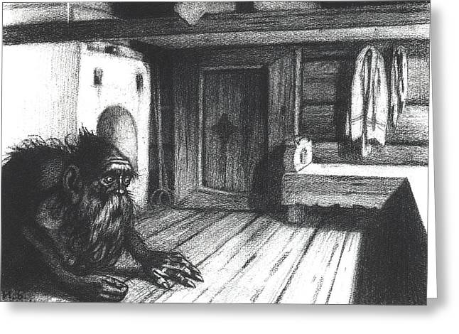 Slavonic Greeting Cards - Domovoi, A Spirit Of The House, 1934 Charcoal On Paper Bw Photo Greeting Card by Ivan Jakovlevich Bilibin