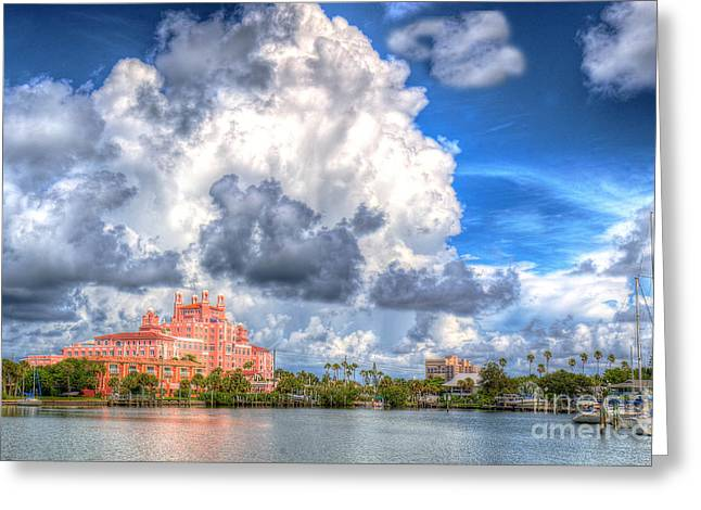 St Petersburg Florida Greeting Cards - Don Cesar Hotel Greeting Card by Judy Rogero