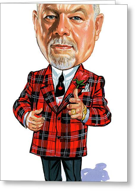 Hockey Paintings Greeting Cards - Don Cherry Greeting Card by Art