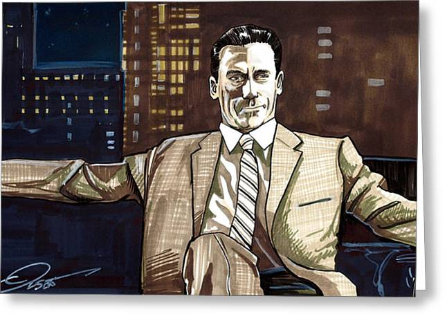 Golden Globe Greeting Cards - Don Draper Greeting Card by Dave Olsen
