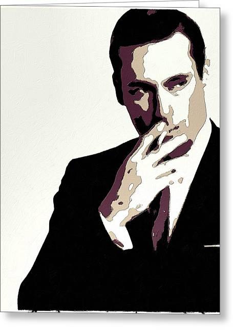 Smoking Cigarette Greeting Cards - Don Draper Poster Art Greeting Card by Florian Rodarte