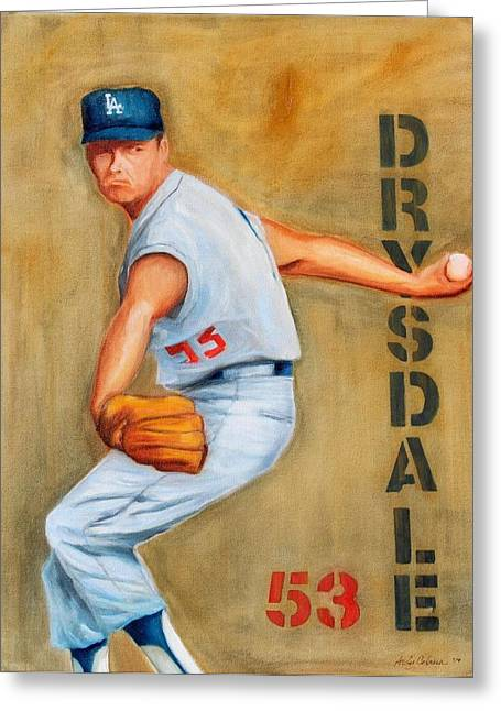 Drysdale Greeting Cards - Don Drysdale Greeting Card by Andrew Cabrera