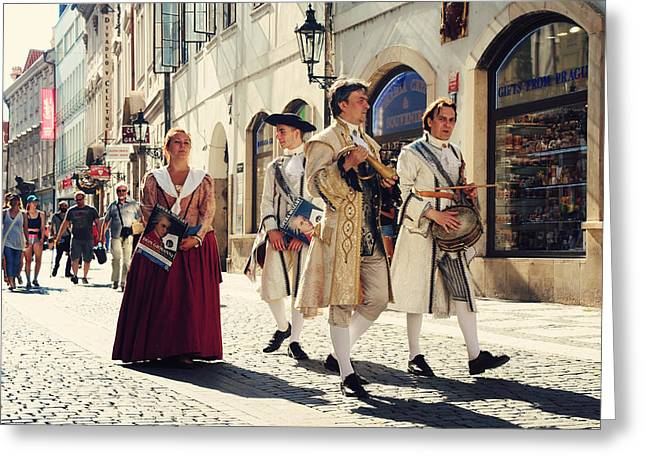 Historical Costume Greeting Cards - Don Giovanni on the Street of Prague Greeting Card by Jenny Rainbow