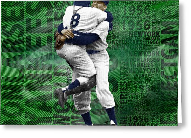 Baseball Uniform Greeting Cards - Don Larsen Yankees Perfect Game 1956 World Series  Greeting Card by Tony Rubino