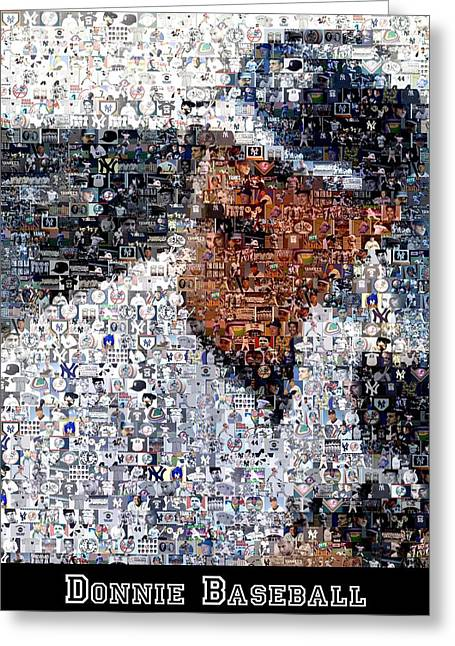 Donnie Baseball. Greeting Cards - Don Mattingly Yankees Mosaic Greeting Card by Paul Van Scott