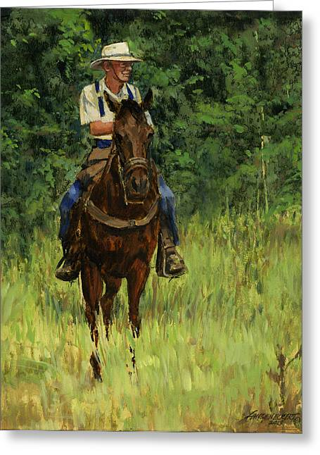 St Louis Missouri Greeting Cards - Jack on His Horse Chico Greeting Card by Don  Langeneckert
