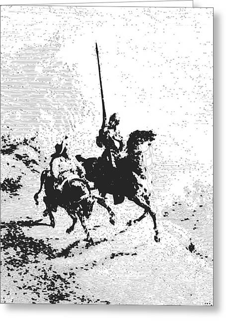 Don Quixote Greeting Cards - Don Quixote and Sancho Panza Greeting Card by