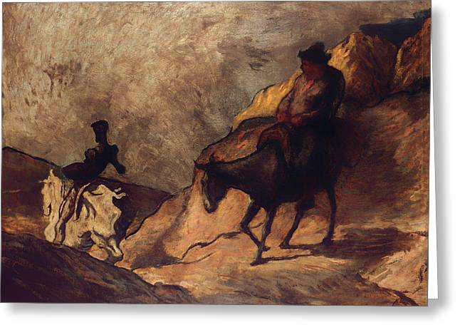 Quixote Greeting Cards - Don Quixote and Sancho Panza Greeting Card by Honore Daumier