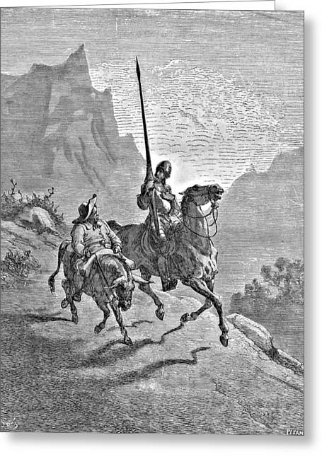 Don Quixote Greeting Cards - Don Quixote and Sancho Panza Illustration Greeting Card by Gustave Dore