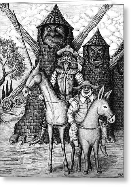 Sancho Panza Greeting Cards - Don Quixote and Sancho Panza Greeting Card by Vitaliy Gonikman