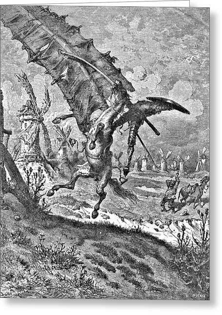 Don Quixote Greeting Cards - Don Quixote Attacks the Windmill Engraving Greeting Card by Gustave Dore