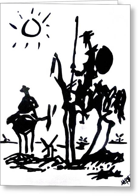 Combat Greeting Cards - Don Quixote Greeting Card by Michelle Dallocchio