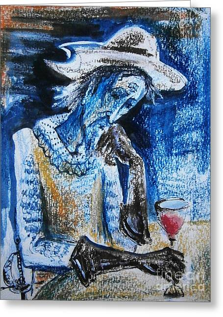 Wine-glass Drawings Greeting Cards - Don Quixote Greeting Card by Milen Litchkov