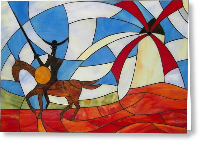 Wolf Glass Greeting Cards - Don Quixote Greeting Card by Suzanne Tremblay