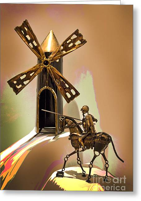 Welded Sculpture Greeting Cards - Don Quixote Tilting At Windmills Greeting Card by Al Bourassa
