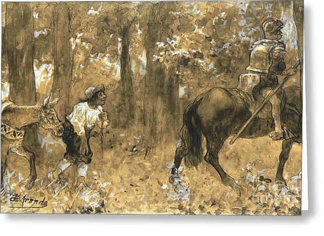 Sancho Panza Greeting Cards - Don Quixote y Sancho Panza Greeting Card by Pg Reproductions