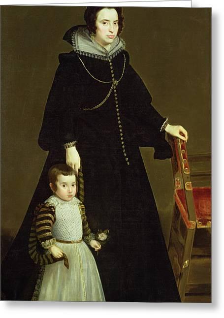 Collar Greeting Cards - Dona Antonia De Ipenarrieta Y Galdos 1599-1635 And Her Son, C.1631 Oil On Canvas Greeting Card by Diego Rodriguez de Silva y Velazquez