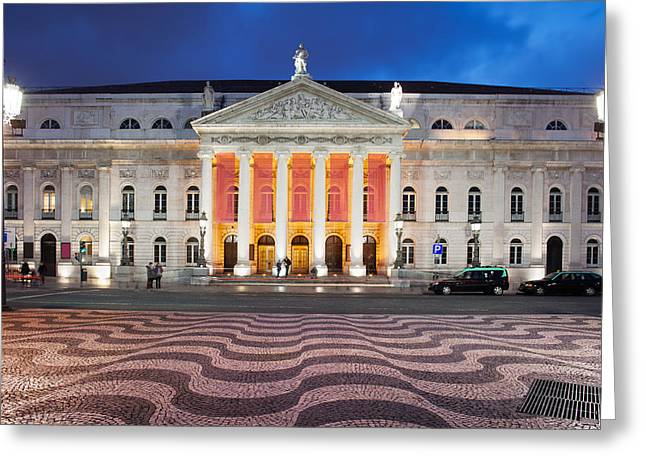 Theater Town Greeting Cards - Dona Maria II National Theater at Night in Lisbon Greeting Card by Artur Bogacki
