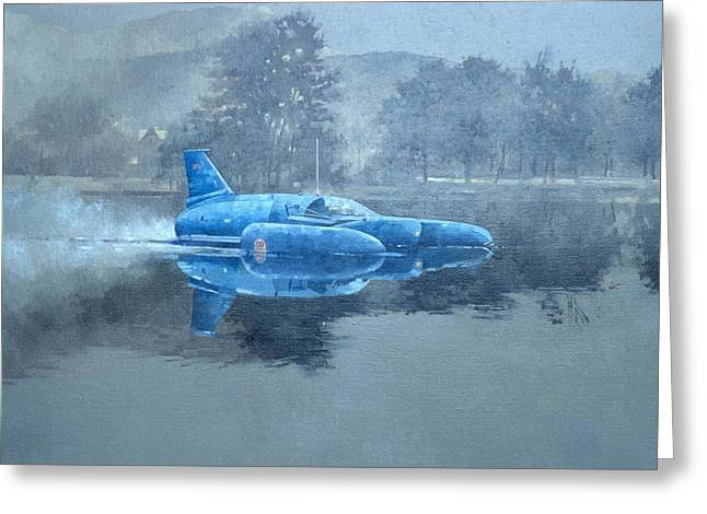 Broker Greeting Cards - Donald Campbell And Bluebird Oil On Canvas Greeting Card by Peter Miller
