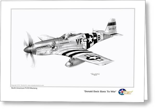 North American P51 Mustang Drawings Greeting Cards - Donald Duck Goes to War Greeting Card by Trenton Hill