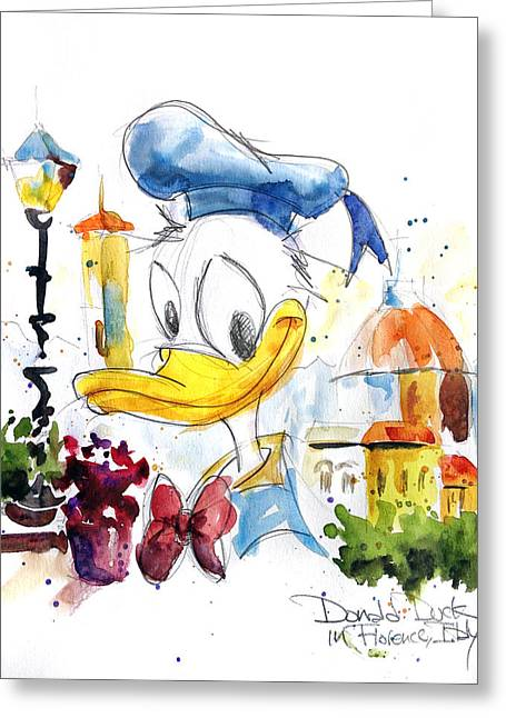 Donald Greeting Cards - Donald Duck in Florence Italy Greeting Card by Andrew Fling