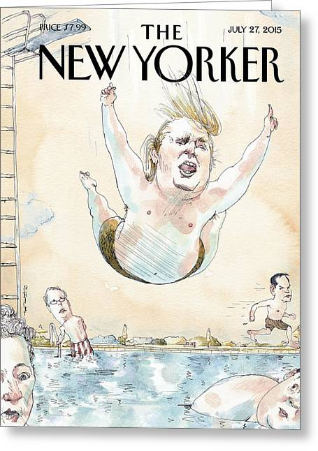 Donald Trumps Belly Flops Into A Swimming Pool Greeting Card by Barry Blitt