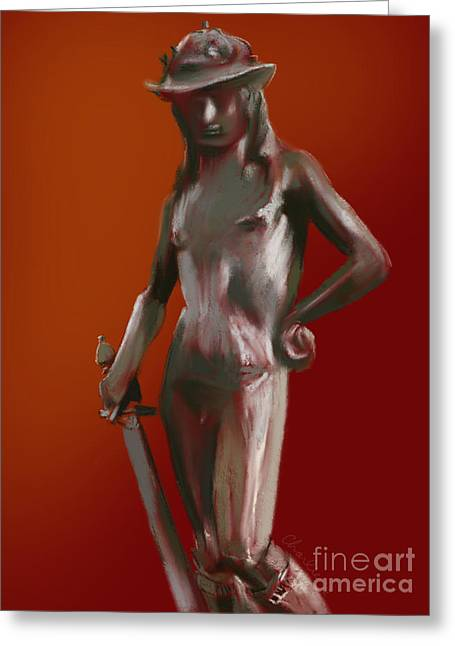 Donatello Greeting Cards - Donatellos Bronze David 1 Greeting Card by Charles De Villeneuve