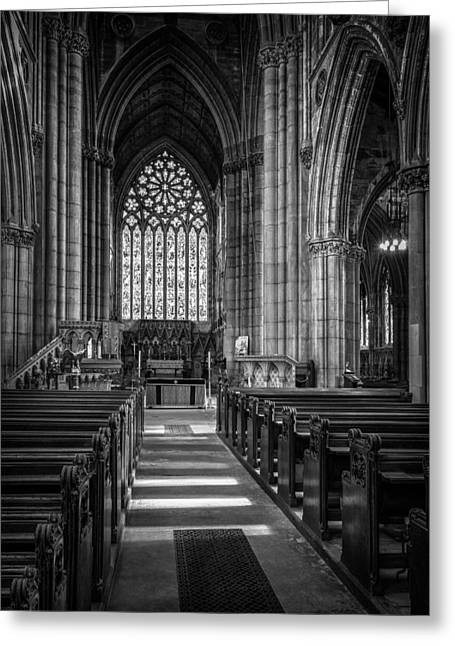 Stained Glass Windows Greeting Cards - Doncaster Minster East Nave Greeting Card by Ian Barber