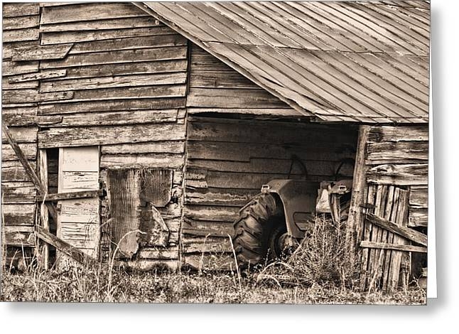 Rusty Tin Roof Greeting Cards - Done for the Day BW Greeting Card by JC Findley