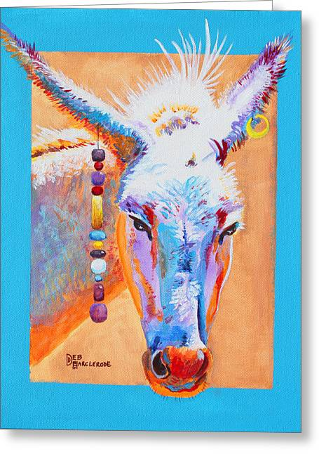 Gold Earrings Greeting Cards - JACKS OTHER GIRL - burro - donkey Greeting Card by Deb  Harclerode