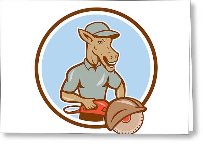 Circular Saw Greeting Cards - Donkey Concrete Saw Consaw Circle Cartoon Greeting Card by Aloysius Patrimonio
