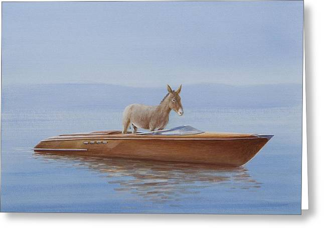 Mules Greeting Cards - Donkey In A Riva, 2010 Acrylic On Canvas Greeting Card by Lincoln Seligman