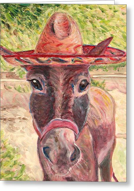 Art On Line Greeting Cards - Donkey named Lupe Greeting Card by Jodie  Scheller