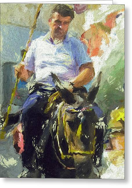 Donkey Ride Greeting Card by Yury Malkov