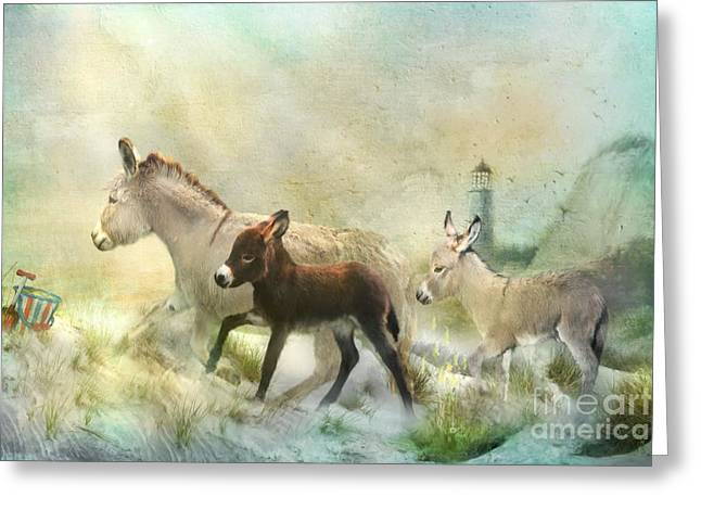 Donkey Mixed Media Greeting Cards - Donkeys Day Off Greeting Card by Trudi Simmonds