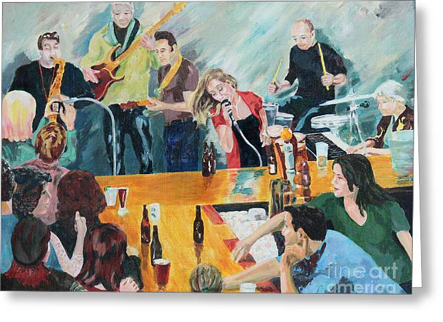 Charlotte Paintings Greeting Cards - Donna Duncan Band at the Comet Greeting Card by Robert Yaeger