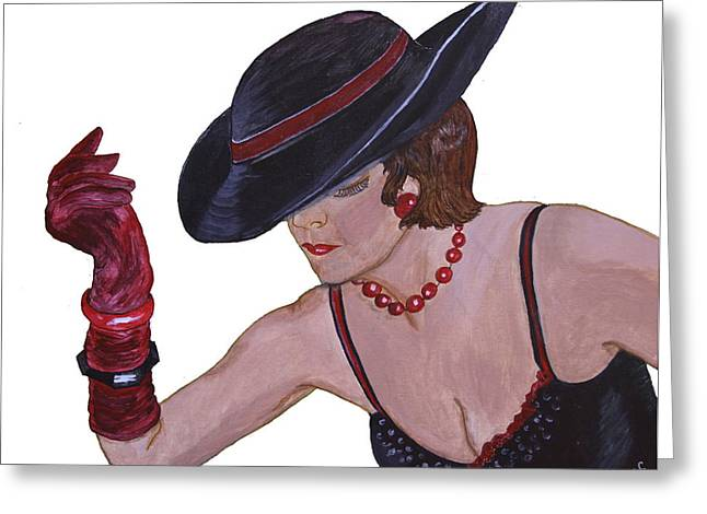 First Lady Mixed Media Greeting Cards - Donnas Hat Greeting Card by Donna Coupe