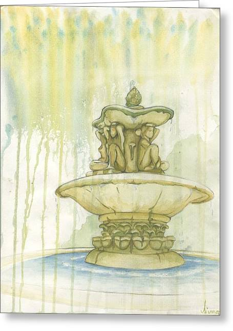 Winged Goddess Mixed Media Greeting Cards - Donne Della Fontana Greeting Card by Sierra Dickey