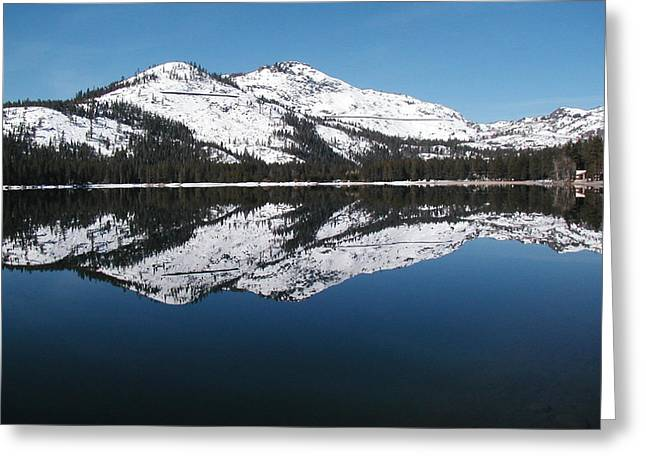 York Beach Mixed Media Greeting Cards - Donner Lake Morning Greeting Card by Mickey Hatt