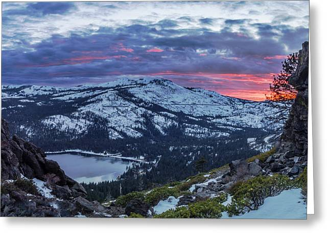 Winter Sunset Greeting Cards - Donner Summit Greeting Card by Jeremy Jensen
