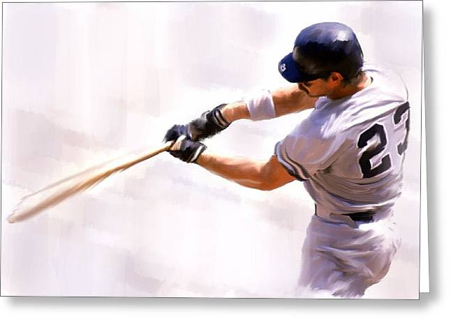Yankees Drawings Greeting Cards - Donnie Ballgame Don Mattingly  Greeting Card by Iconic Images Art Gallery David Pucciarelli