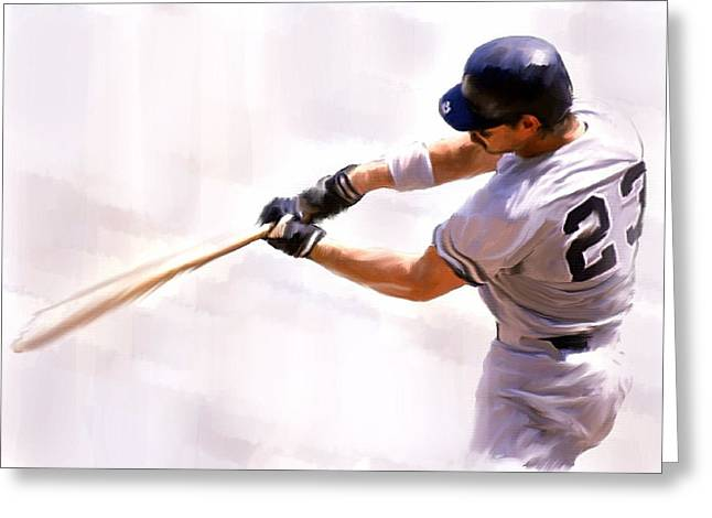 Main Street Drawings Greeting Cards - Donnie Ballgame Don Mattingly  Greeting Card by Iconic Images Art Gallery David Pucciarelli