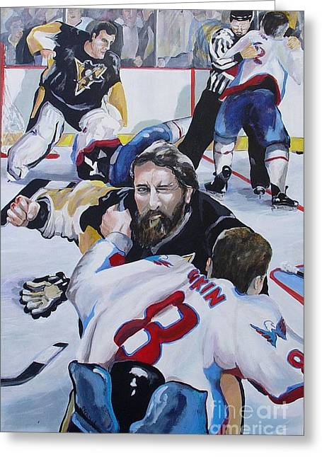 Alex Ovechkin Greeting Cards - Donnybrook Greeting Card by Philip Kram