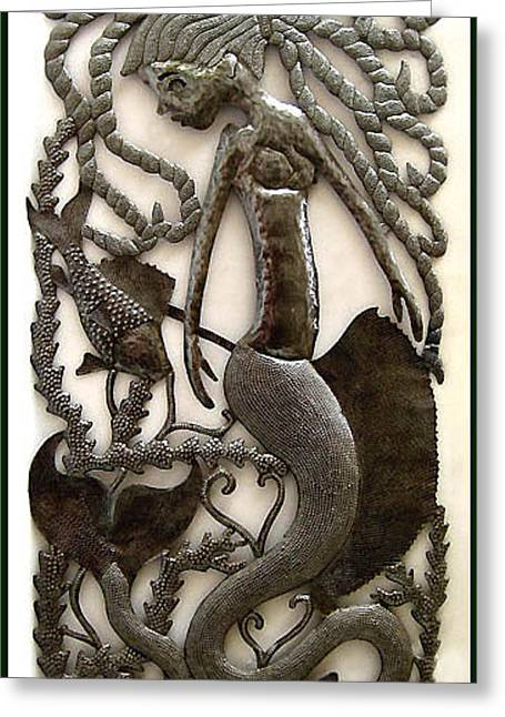 Mermaids Sculptures Greeting Cards - Dont Bite Me - Haitian Steel Drum Metal Wall Hanging Greeting Card by Elius
