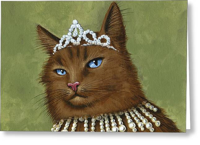 Tiara Paintings Greeting Cards - Dont Come Too Close...cat art painting Greeting Card by Amy Giacomelli