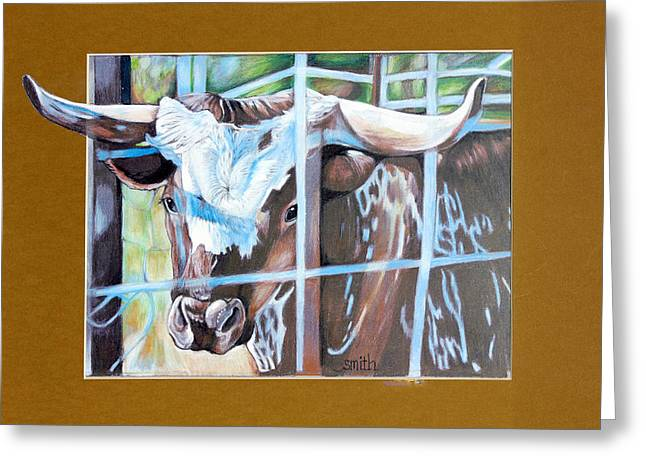 Steer Drawings Greeting Cards - Dont Fence Me In Greeting Card by Valerie Yvette Smith