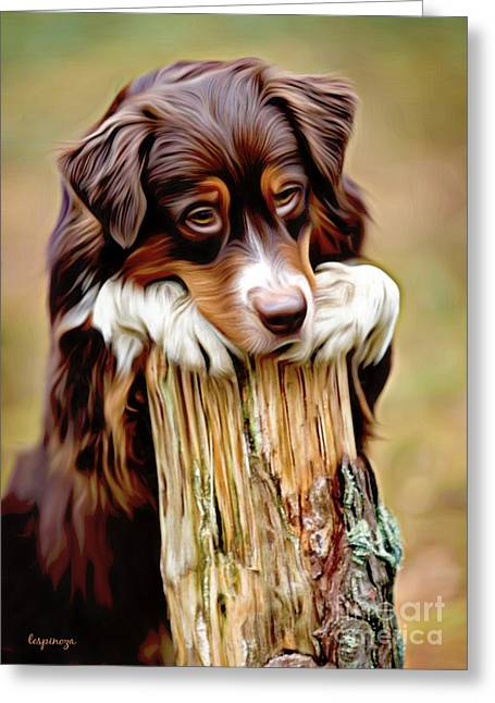 Puppy Digital Art Greeting Cards - Dont Leave... Greeting Card by Larry Espinoza