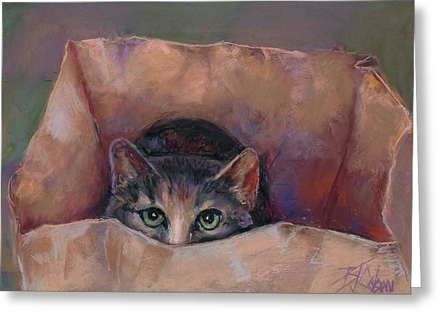 Funny Pastels Greeting Cards - Dont Let the Cat out of the Bag Greeting Card by Billie Colson